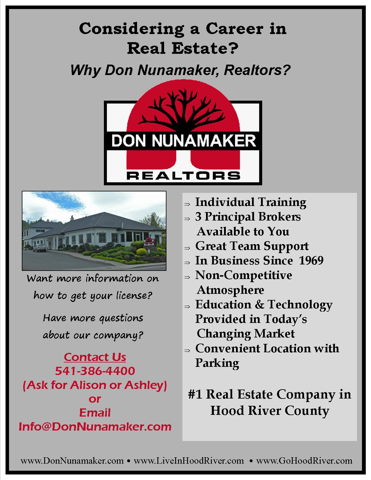 Career in Real Estate in Hood River